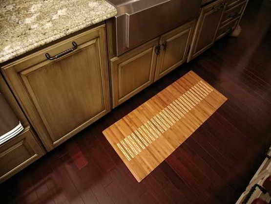Luxurious flooring kitchen with decorative bamboo floor mats