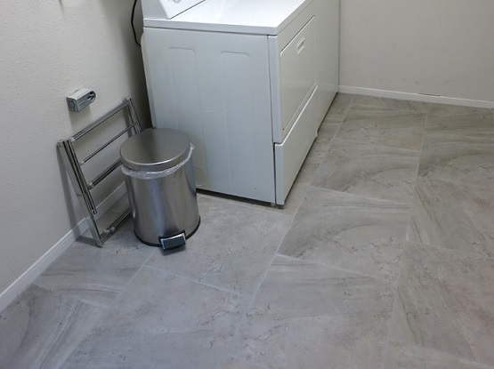 Polished concrete laundry room floor