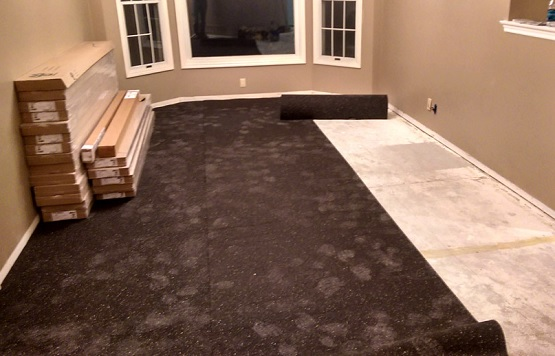 Rubber underlayment for hardwood floors