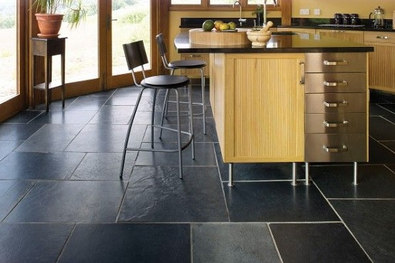 Slate tiles for kitchen floor | Flooring Ideas | Floor Design Trends