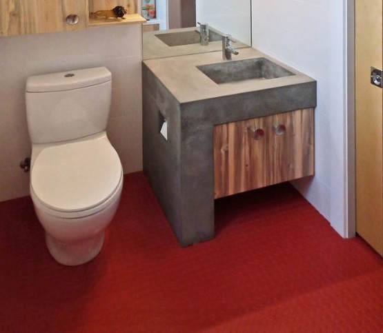Toilet with rubber flooring residential