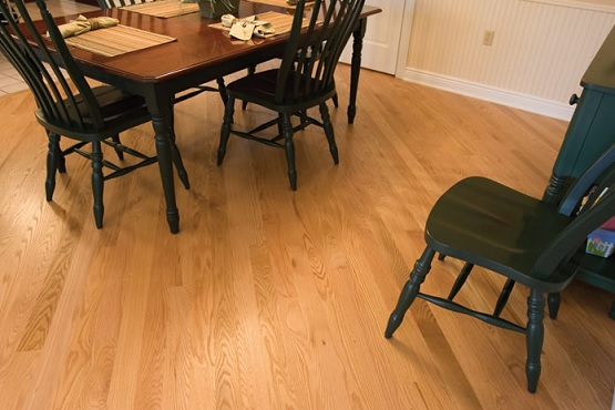 Unfinished red oak dining room flooring