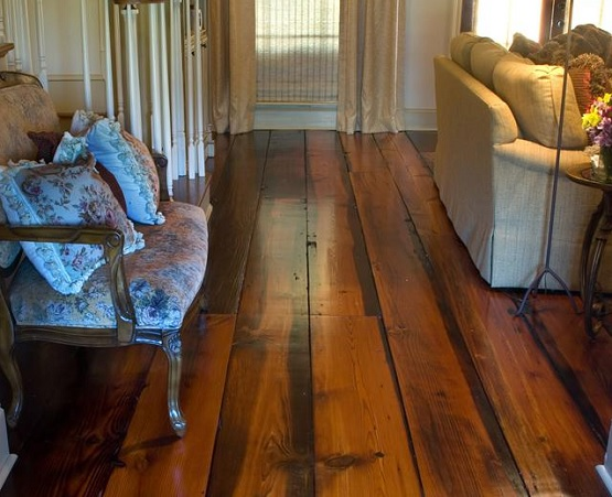 Wide plank reclaimed oak flooring