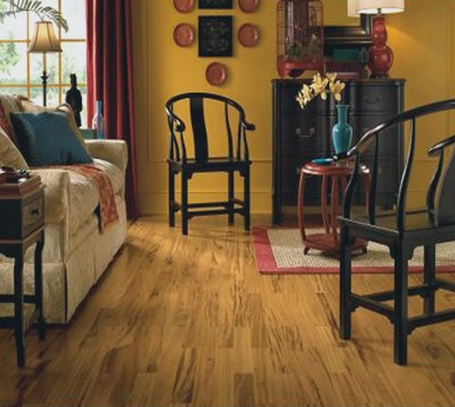 Apple wood pattern linoleum plank flooring living room
