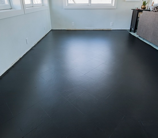 Black paint tile floor living room