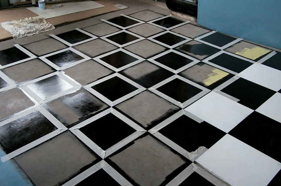 Black & white garage tile floor paint