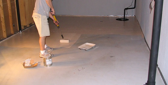 Brown basement floor epoxy