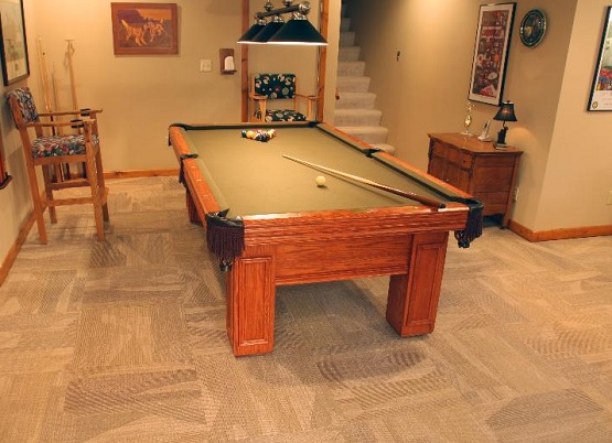 The Installation of Carpet Tiles for Basement Flooring Ideas