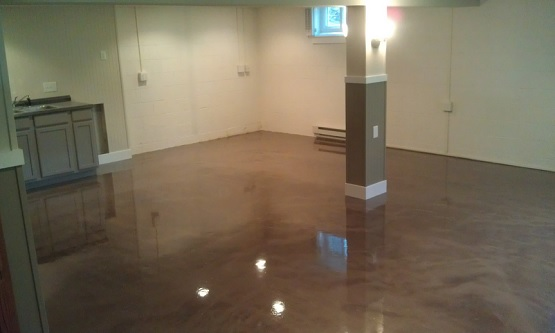 Brown epoxy basement concrete floor paint color