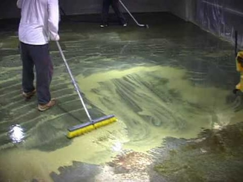 Cleaning and paint concrete basement floor