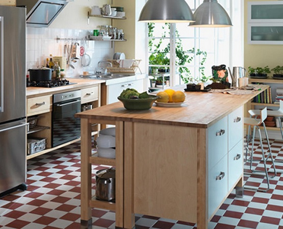 Country Modern Kitchen With Linoleum Kitchen Flooring