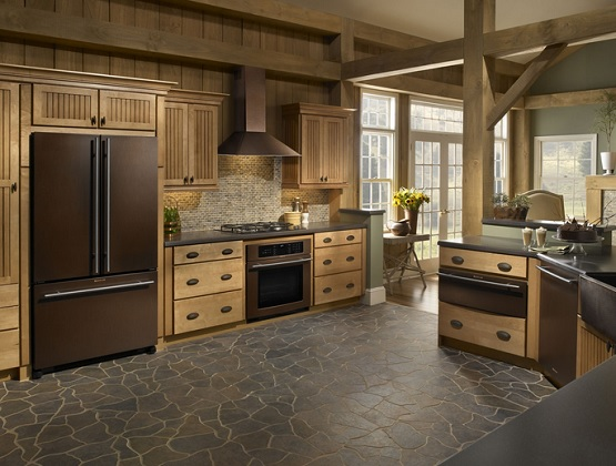 Dark brown stone flooring for kitchen