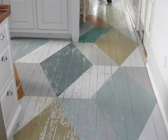 Decorative wood floor paint