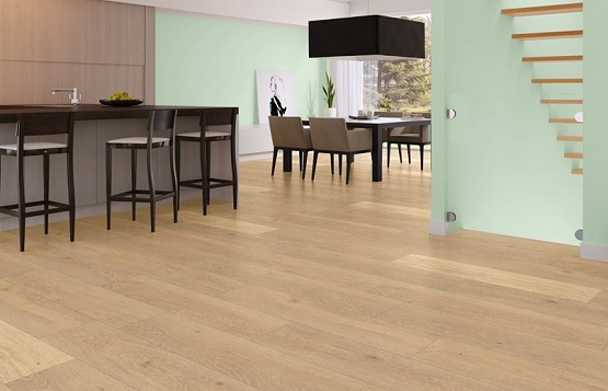 Dining room with harvest oak laminate flooring