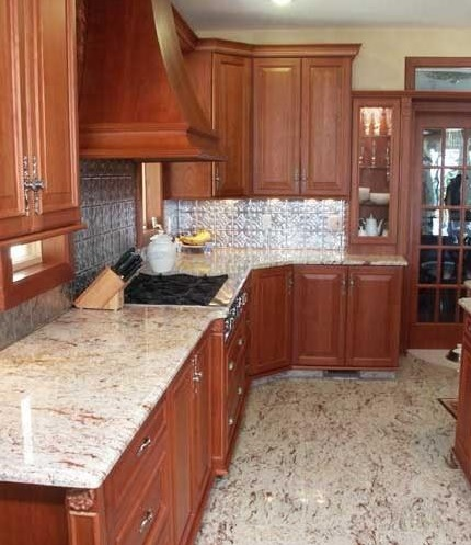 Granite laminate flooring in kitchen
