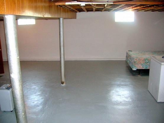 Gray basement concrete floor paint ideas