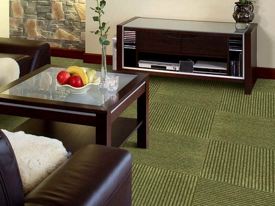 Green carpet tiles for basement