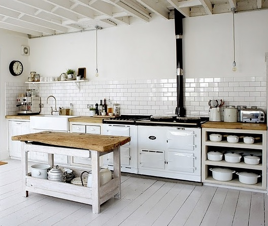Kitchen with white wood floor paint