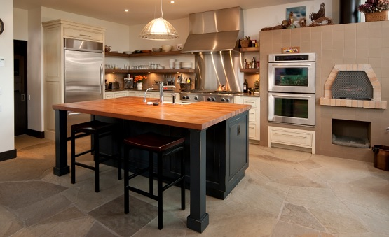 Light brown stone floor for kitchen