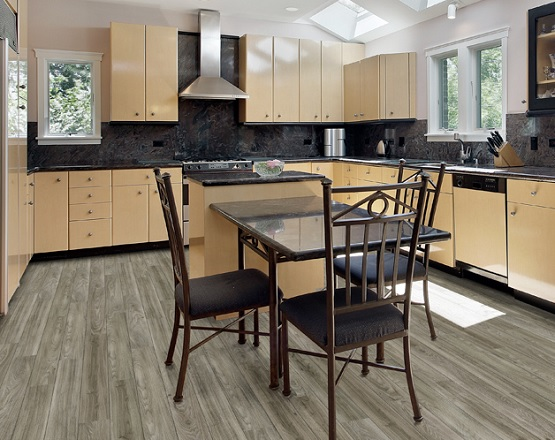 Linoleum plank flooring in kitchen