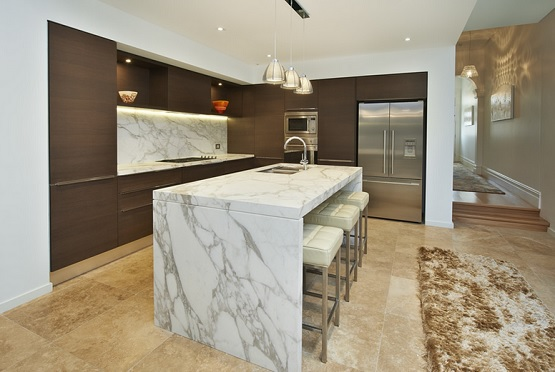 Marble laminate floor in kitchen