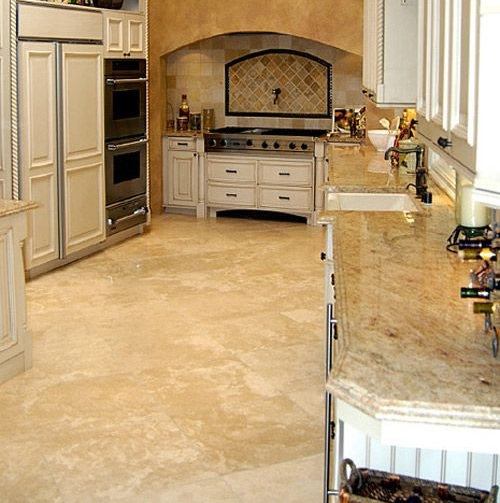 Natural lighter stone floor for kitchen | Flooring Ideas | Floor ...