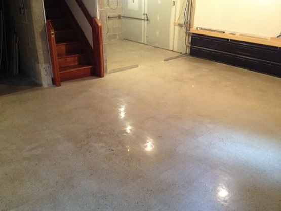 Polished and sealed waterproof concrete basement floors for How to pick flooring