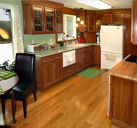Red oak tongue and groove kitchen wood flooring