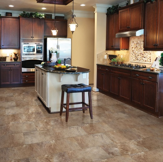 Vintage kitchen with linoleum faux tile floors