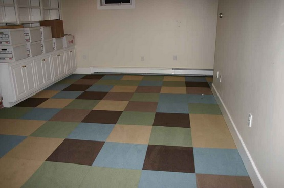 Waterproof carpet tiles for basement