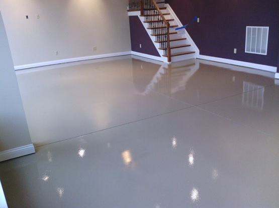 White epoxy paint waterproof basement flooring flooring for Basement flooring ideas pictures