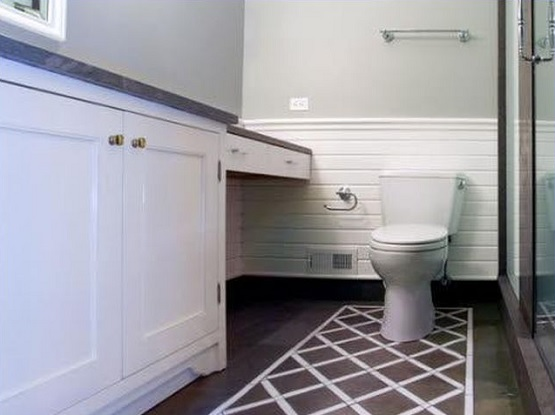White painting bathroom tile floor