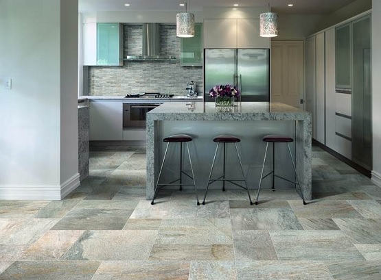Stone Flooring for Kitchen Bringing Traditional and Elegant Looks  Wide stone  tiles size for kitchen