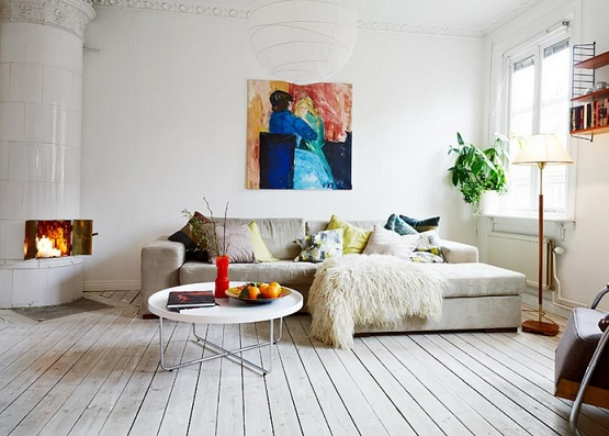 Wood floor paint living room