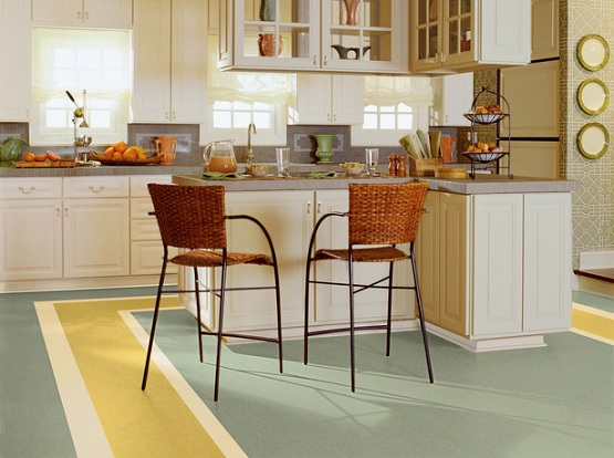 Yellow and white painting linoleum floor