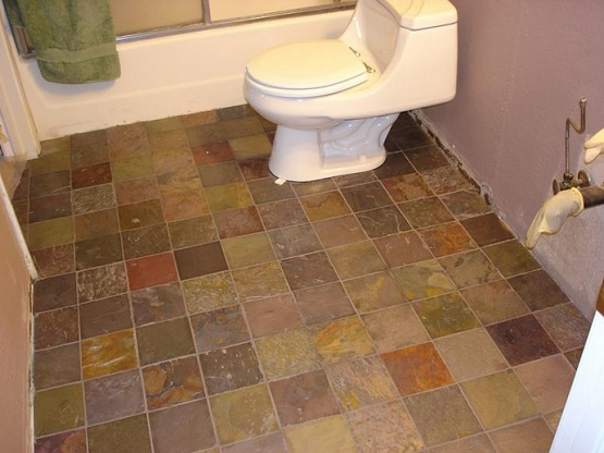African multi color slate bathroom floor