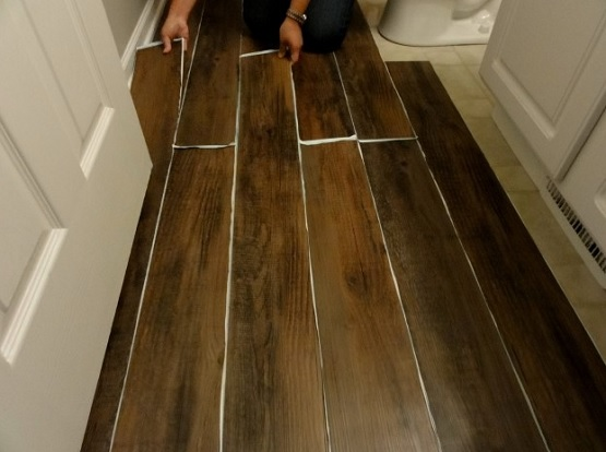 Bathroom floating vinyl plank flooring installation