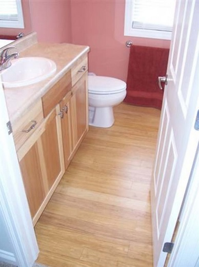 Bathroom vanities and bamboo flooring in bathroom for Bamboo bathroom flooring ideas