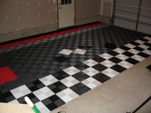 Black and grey vinyl tile garage flooring