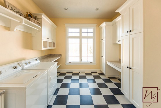 Black and white vinyl flooring for laundry room