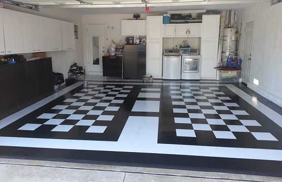 Black and white vinyl tile flooring for garage