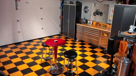 Black and yellow vinyl garage flooring