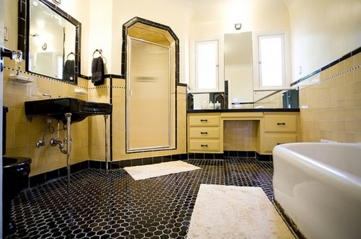 Black vintage hexagonal bathroom floor tile