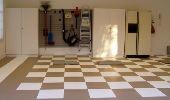 Brown and white vinyl flooring for garage