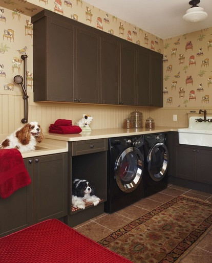 Brown traditional rugs and mats pattern for laundry room