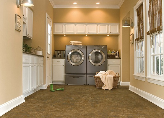 Brown vinyl flooring for laundry room