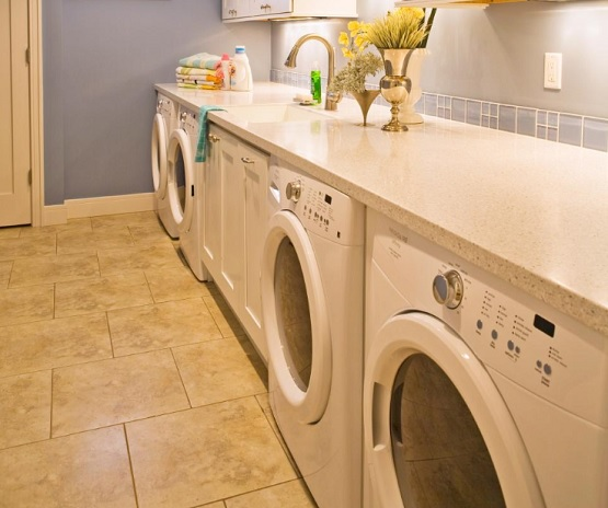 Ceramic tile basement laundry room flooring