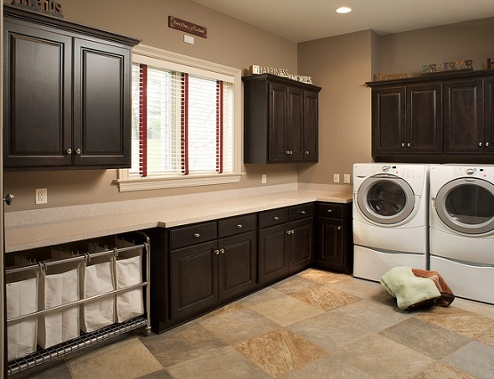 Checkerboard-style laundry room tiles