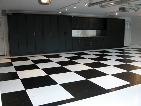 Contemporary garage designs with vinyl garage flooring