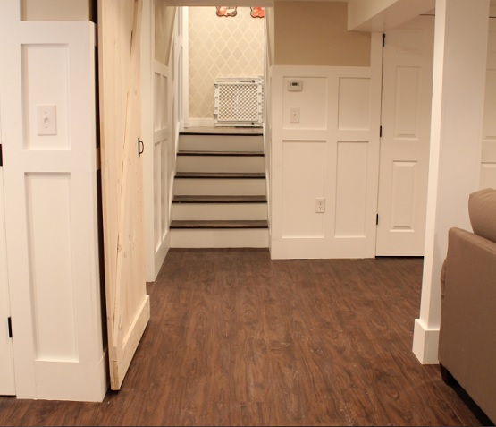 English Walnut Vinyl Plank Flooring Basement